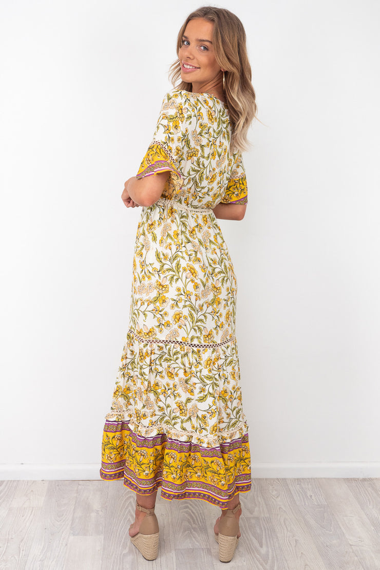 Macey | Dress In White And Yellow Print With Sleeve