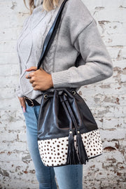 Black Leather Lambskin Bucket Bag