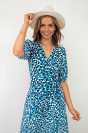 Sasha | Maxi Wrap Leopard Dress Print In Blue
