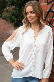 Evie | Studded Top with Sleeve Slit in White