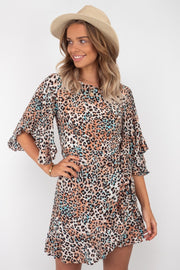 Olivia Mini Leopard Wrap Dress With Sleeve and Open bark Detail