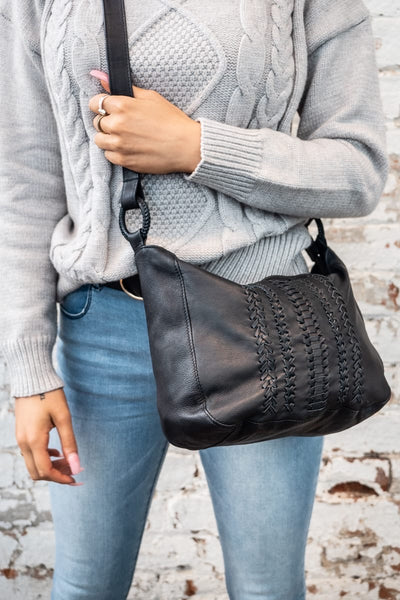 Halo Black Leather Lambskin Shoulder Bag