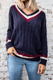 Riley Navy V neck cable jumper