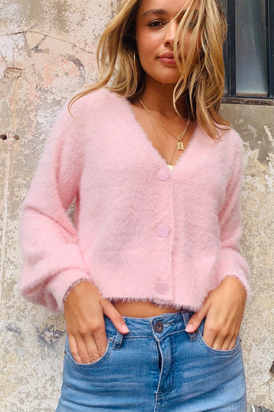 Elly | Fluffy Baby Pink Cardi (New Arrival)