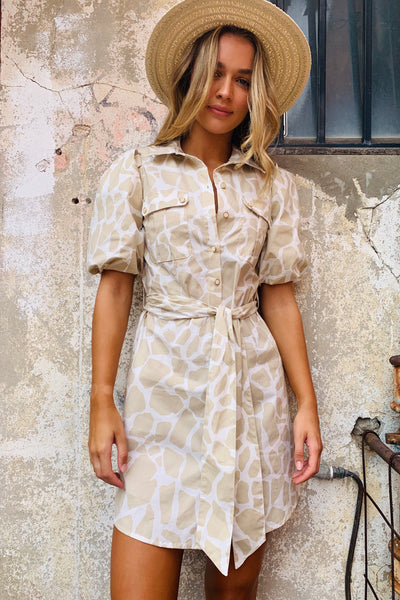 Miley | Natural And Cream Shirt Dress