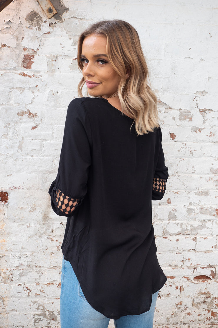 Alba Top Longer length in Black with crochet lace detail