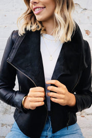 Sienna | Lambskin Leather Jacket with Suede Collar