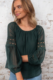 Leah | Detailed Off The Shoulder Top in Bottle Green
