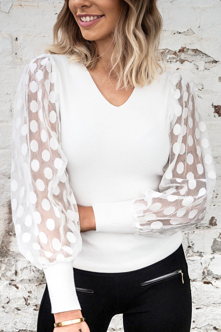 Miley White Knit Jumper with Polka Dot Mesh Sleeve