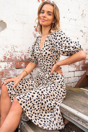 Sasha | Animal Print Midi Wrap Dress