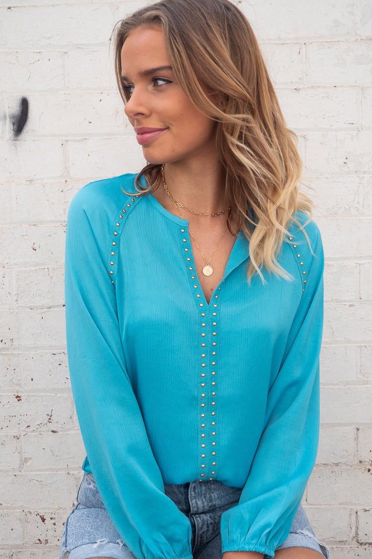 Evie | Studded Top in Baby Blue