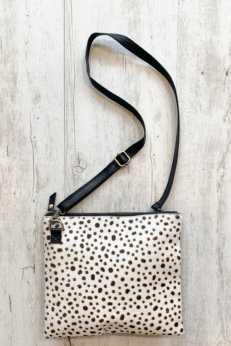 Kylie Leather Leopard Spot Side Bag