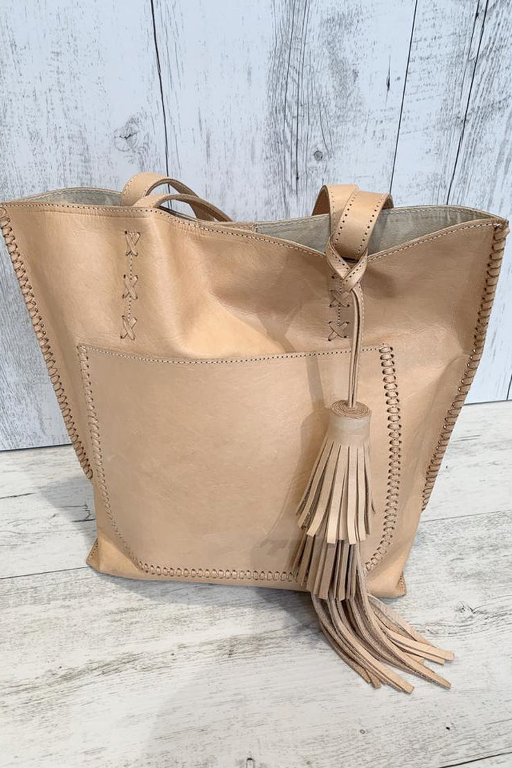 Tan Leather Tassel Bag  With Leather Embroidery Detail