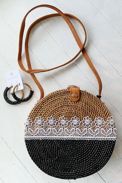 Halo Wicker Bag with Lace