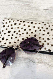 Elena | Chocolate and white Cowhide Spot Fur  leather purse