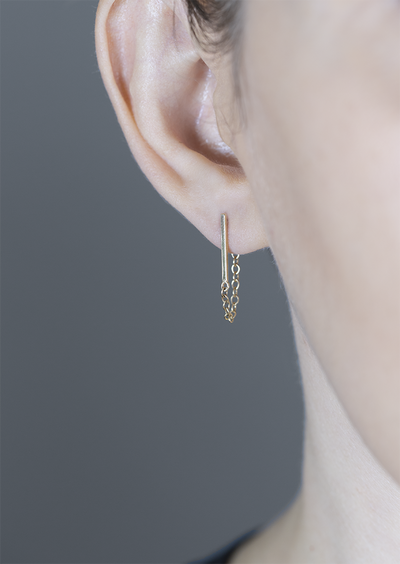 STICK CHAIN STUD EARRING