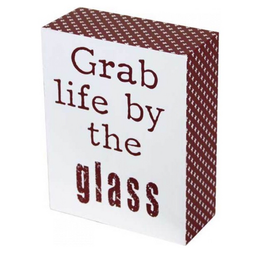 Burgundy and White Sign Board (Life By The Glass)