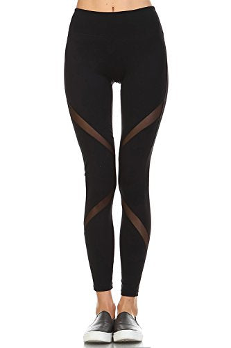 Women's Athletic Full Leggings with High Elasticized Waist & Zipper