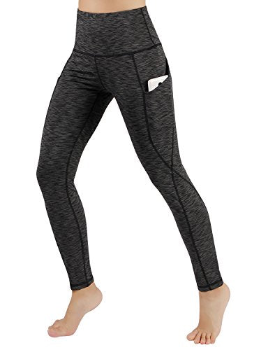 ODODOS High Waist Out Pocket Yoga Pants Tummy Control Workout Running 4 way Stretch Yoga Leggings,SpaceDyeCharcoal,XX-Large