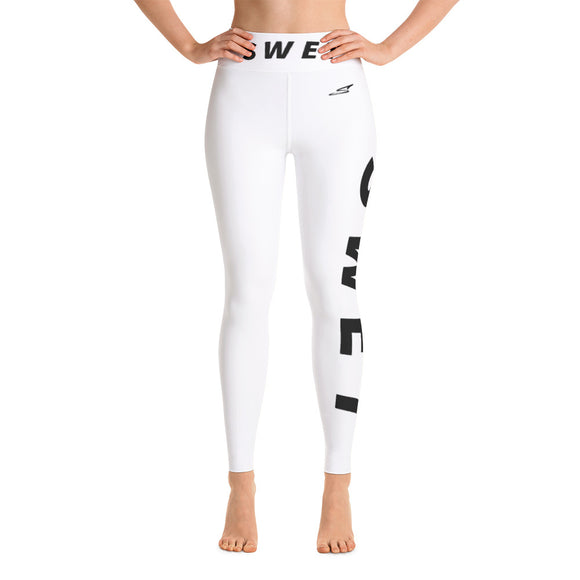 Official SWET Ghost leggings white with black print Thick waist band