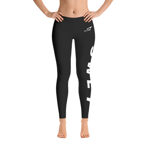 Custom all black with white print SWET leggings