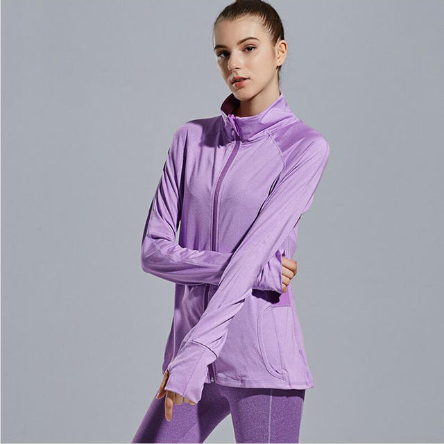 Winter Women's Outdoor Training and Fitness Running Yoga T-shirt Long Sleeved Sports Jacket