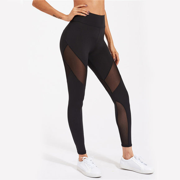 Active Mesh Panel Zip Detail Leggings Women's Black High Waisted