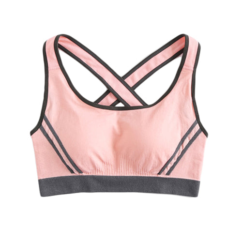 Cross Back Contrast Piping Sporty Bra