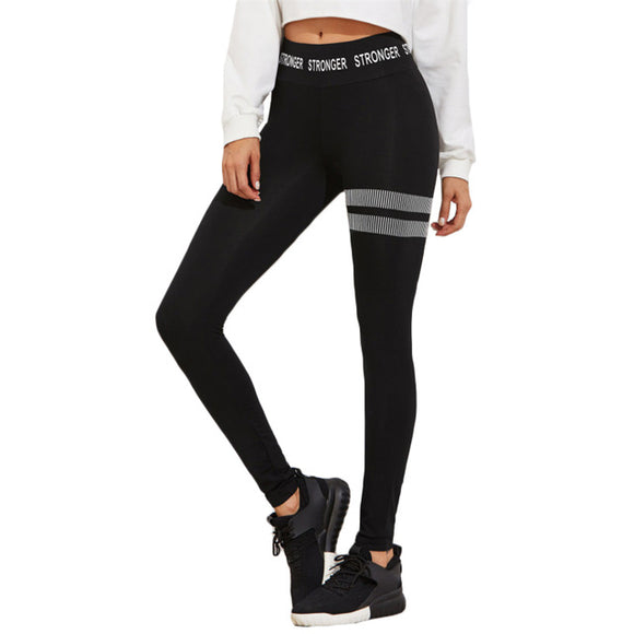 SHEIN Letter Printed Wide Waistband Leggings Black winter