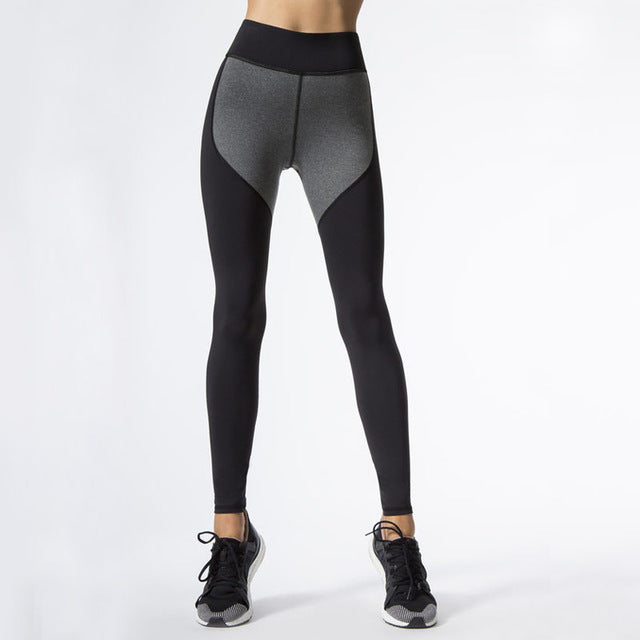 S-QVSIA Black Gray Color Patchwork Leggings