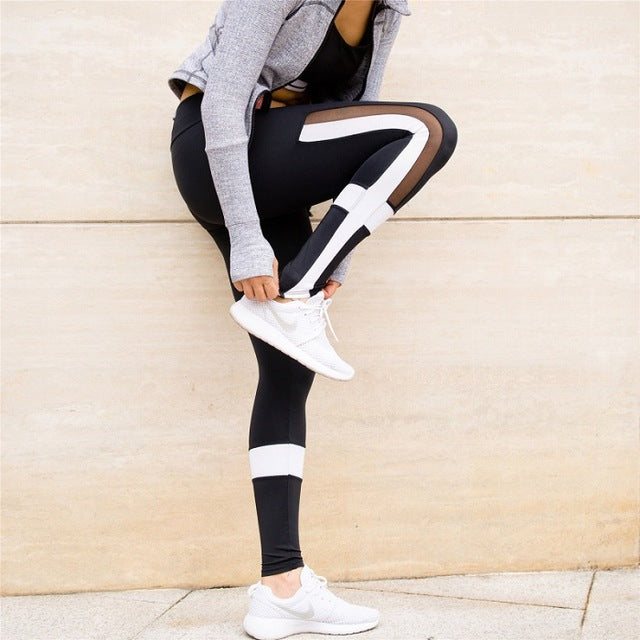 Black White Patchwork Leggings with mesh splice