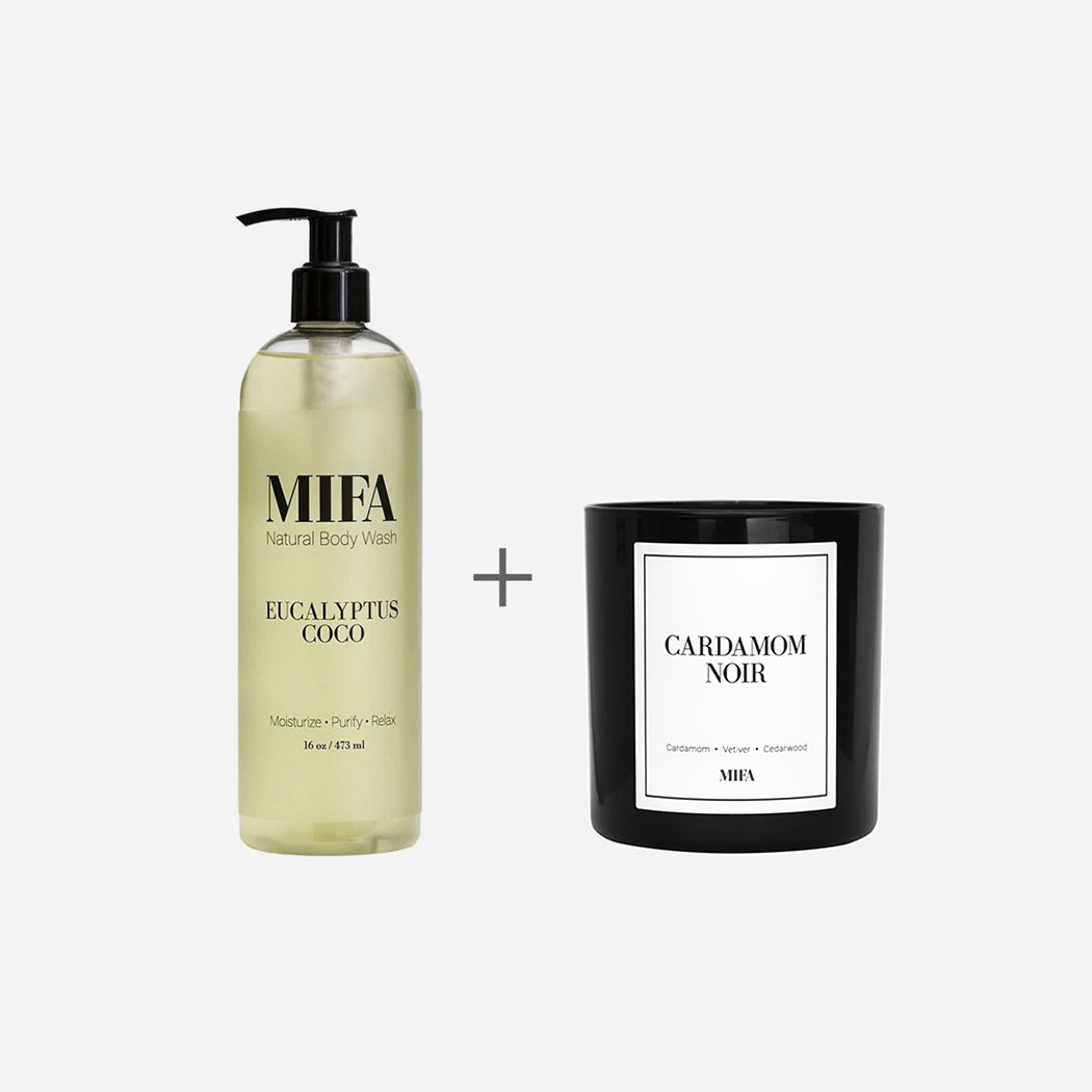 MIFA Glow Set (Eucalyptus Coco Body Wash and Cardamom Noir Candle)