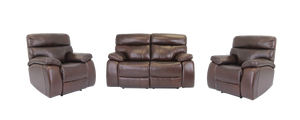 Mason 3 Piece Genuine Leather Recliner Suite