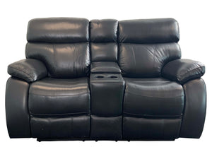 Mason 2 Seater Leather Recliner with Drink Console