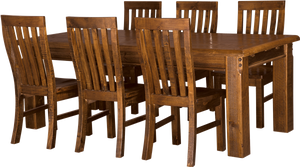 Farmhouse 7 Piece 180 Wooden Dining Suite