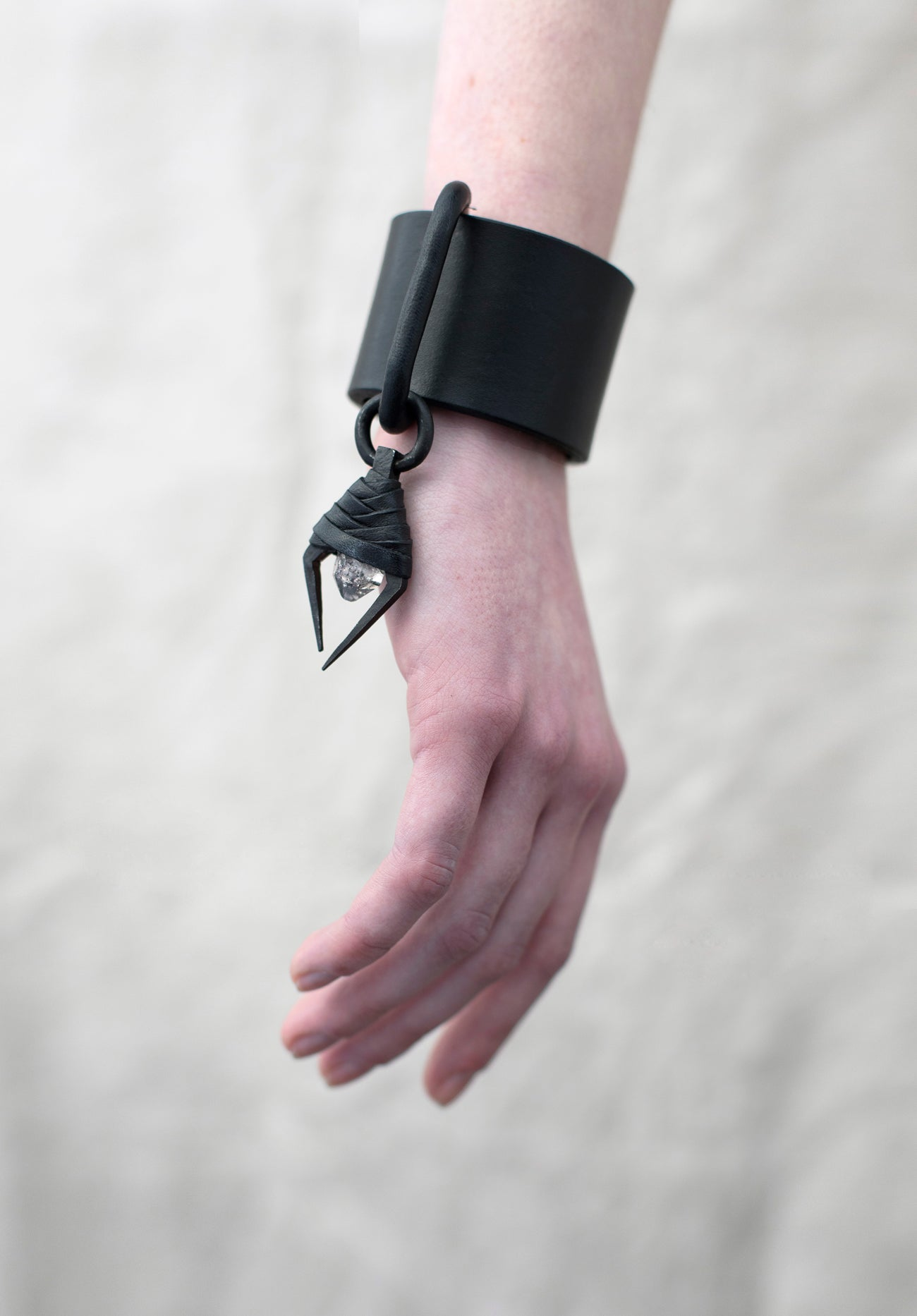 MINI HERKIMER & IRON LEATHER CUFF