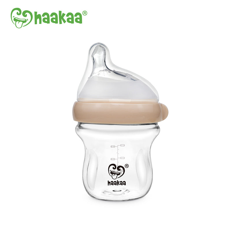 Haakaa Gen. 3 Glass Baby Bottle 90ml - Peach
