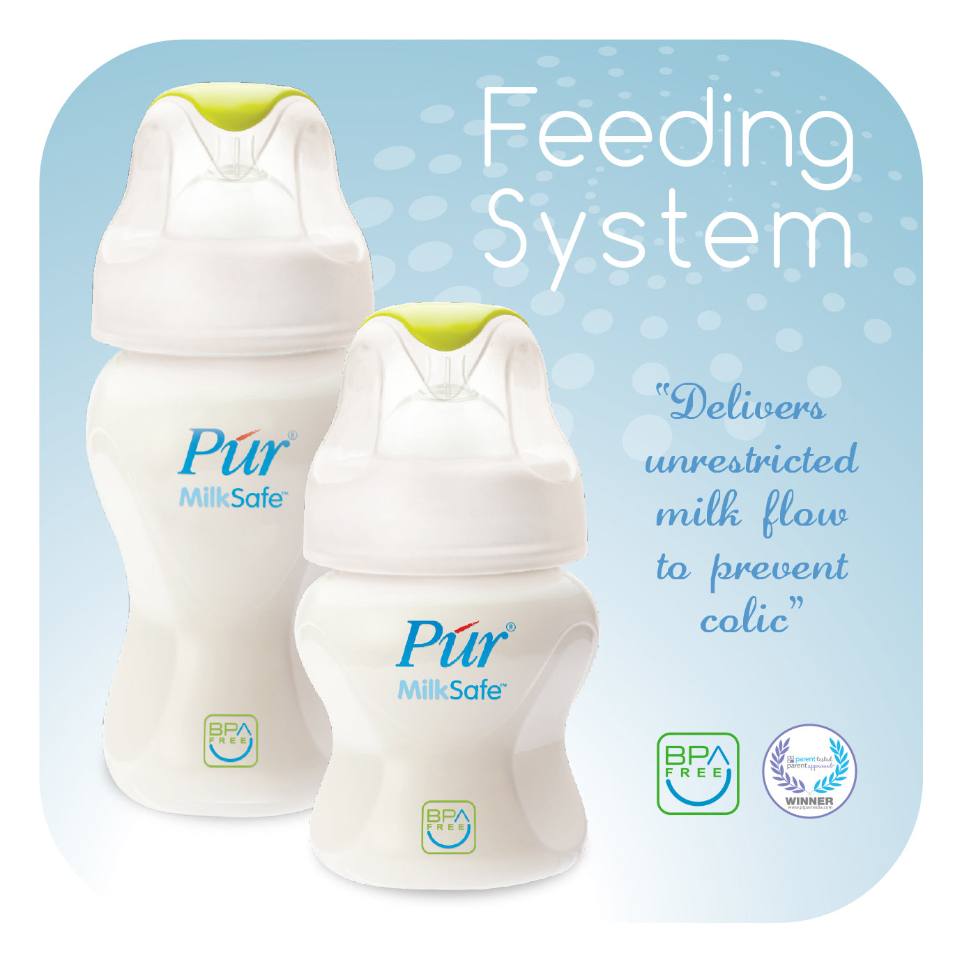 Púr MilkSafe Feeding Milk Bottle (8 oz./250 ml) - 2 Bottles Value Pack