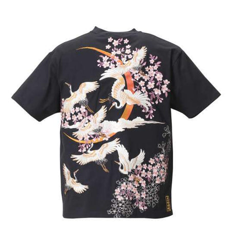 Embroidered Stork & Cherry Blossoms T-Shirt - BIG TALL JAPAN