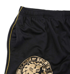 Soul Sports x NJPW Logo Printed Black Shorts - big tall-jp.com