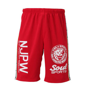Soul Sports x NJPW Logo Printed Red Shorts - big tall-jp.com