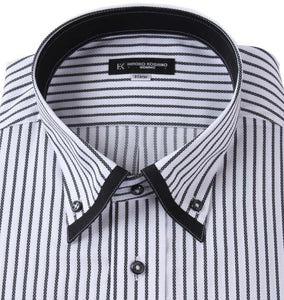 Hiroko Koshino Homme Black & White Pinstripe Business Shirt - big tall-jp.com