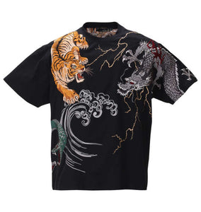 Karakuri Tamashii Entangled Spirits Embroidered Short Sleeve T-shirt - big tall-jp.com