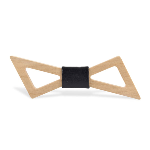 Wood Fashion by PN: Men's Wooden Bow Ties - Thunder Light - Black Leather