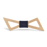 Wood Fashion by PN: Men's Wooden Bow Ties - Thunder Light - Blue Denim