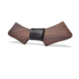 Wood Fashion by PN: Men's Wooden Bow Ties - Chopper Dark - Black Leather