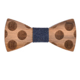 Wood Fashion by PN: Men's Wooden Bow Ties - Dalmatian - Blue Denim