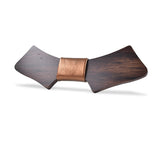 Wood Fashion by PN: Men's Wooden Bow Ties - Chopper Dark - Gold Leather