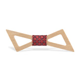 Wood Fashion by PN: Men's Wooden Bow Ties - Thunder Light - Red Lattice
