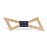 Wood Fashion by PN: Men's Wooden Bow Ties - Thunder Light - Blue Lattice